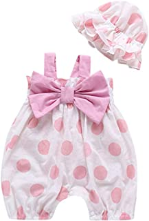 Hot!! 🍎 Newborn Kids Girls Romper+Hat Set MS-SM Infant Baby Sleeveless Straps Dot Print Bow-knot Sunsuit Bodysuit Outfits Clothes 2PCs for 0-2Y