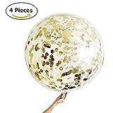 4 Globos de Confeti Gigante XXL Confetti Balloon. Globo Transparente con Confeti Dorado para Fiesta de Cumpleaños, Boda y Graduacion