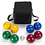 Bocce Deluxe Ball Set - 8 Lightweight Resin 90mm Balls & Carrying Case - Classic...