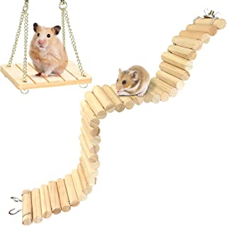 Hamster Bridge Suspension Ladder Wooden Swing Cage Toy for Small Animal Syrian Hamster Gerbil Guinea Pig Chinchilla Hedgehog Mice Bunny
