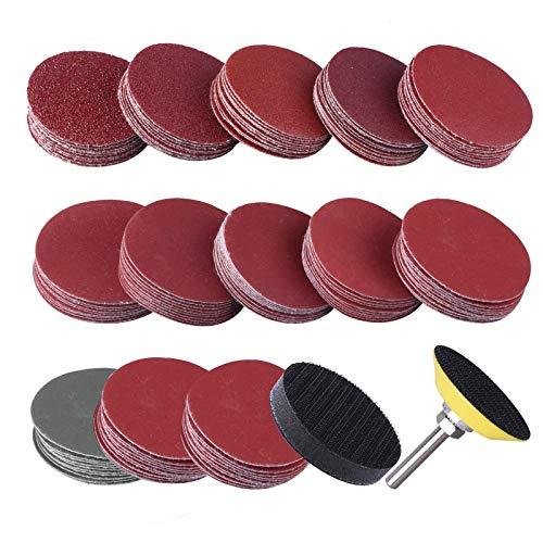 Ecarke Sanding Discs, Orbital Sander Discs 50pcs 2 Inch 50mm 60/80/120/150/180/Grit Round Sandpaper Sanding Discs Grinding Pads Sheets for Drill Polishing Cleaning.