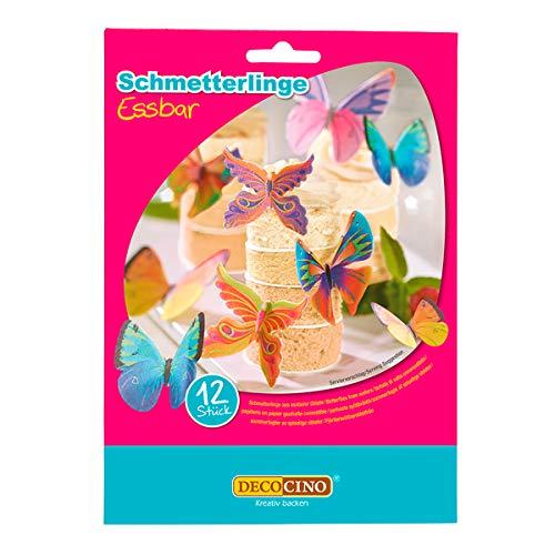 DECOCINO Essbare Schmetterlinge (12 verschied. Motive) – hochwertige Tortendeko aus Oblate mit 3D-Effekt – als Deko für Kuchen, Muffins, Cup-Cakes etc.