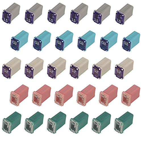 Mcase Cartridge Fuses Kit 15 20 25 30 40 Amp - 30 Flosser Micro FMM Square Fuse