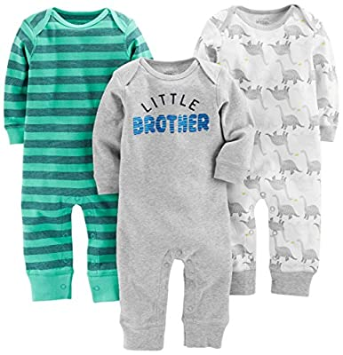 Simple Joys by Carter's Baby Boys' 3-Pack Jumpsuits, Dino, Green Stripe, Gray, 6-9 Months by Carter's Simple Joys - Private Label