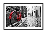Imagen en un marco de madera de color negro - Imagen en un marco - Cuadro sobre lienzo - Calle bicicletas adoquines edificio - 120x80cm - Impresión en lienzo - Imagen Impresión - F1BAA120x80-3186