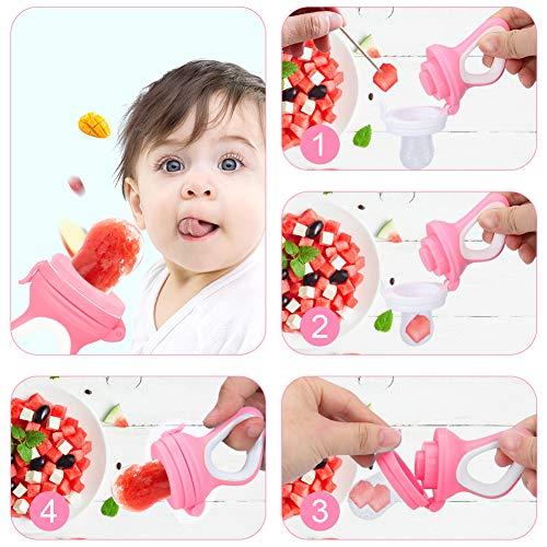 DIAOCARE Fruchtsauger,Silikon Sauger in 3 Größen und Schnullerband,BPA-frei,Schnuller Beißringe für Obst Gemüse Brei Beikost,Fruchtsauger für Baby & Kleinkind (Pink) - 7