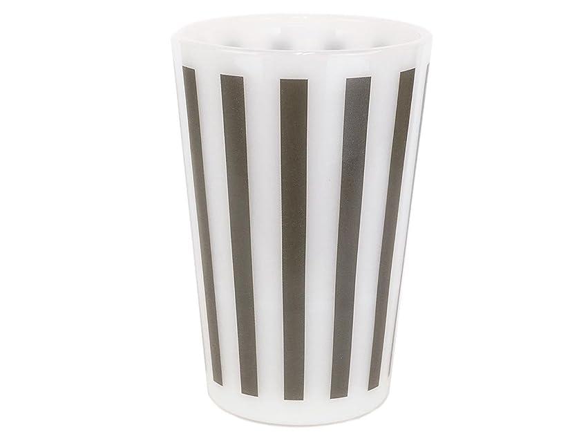 レンディション刺します八百屋Olde Milk Glas オールドミルクガラス ストライプタンブラー グレー ミルクホワイト