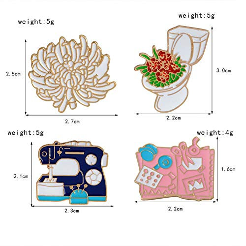 JTXZD broche 8-delig/set wc bloem naaien hine pallet piramide kleur handgereedschap broche op pin denim jas pin badge cartoon