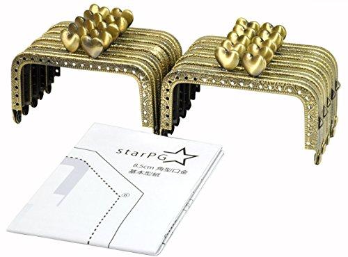 starPG 型紙 付き がま口 口金 小さめ 8.5cm アンティークゴールド 10本 セット (ハート 角型)