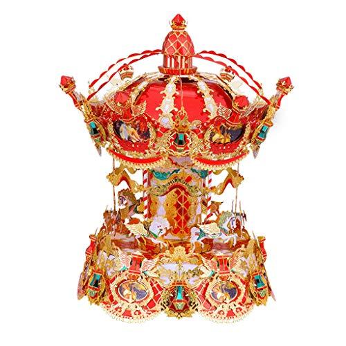 FABAX Cajas Musicales Caja de música Merry-Go-Round Caja de música, Nuevo Metal 3D Rompecabezas, Cajas de música for Chicas Nietas cumpleaños de la Hija de Navidad San Valentín Regalo de cumpleaños