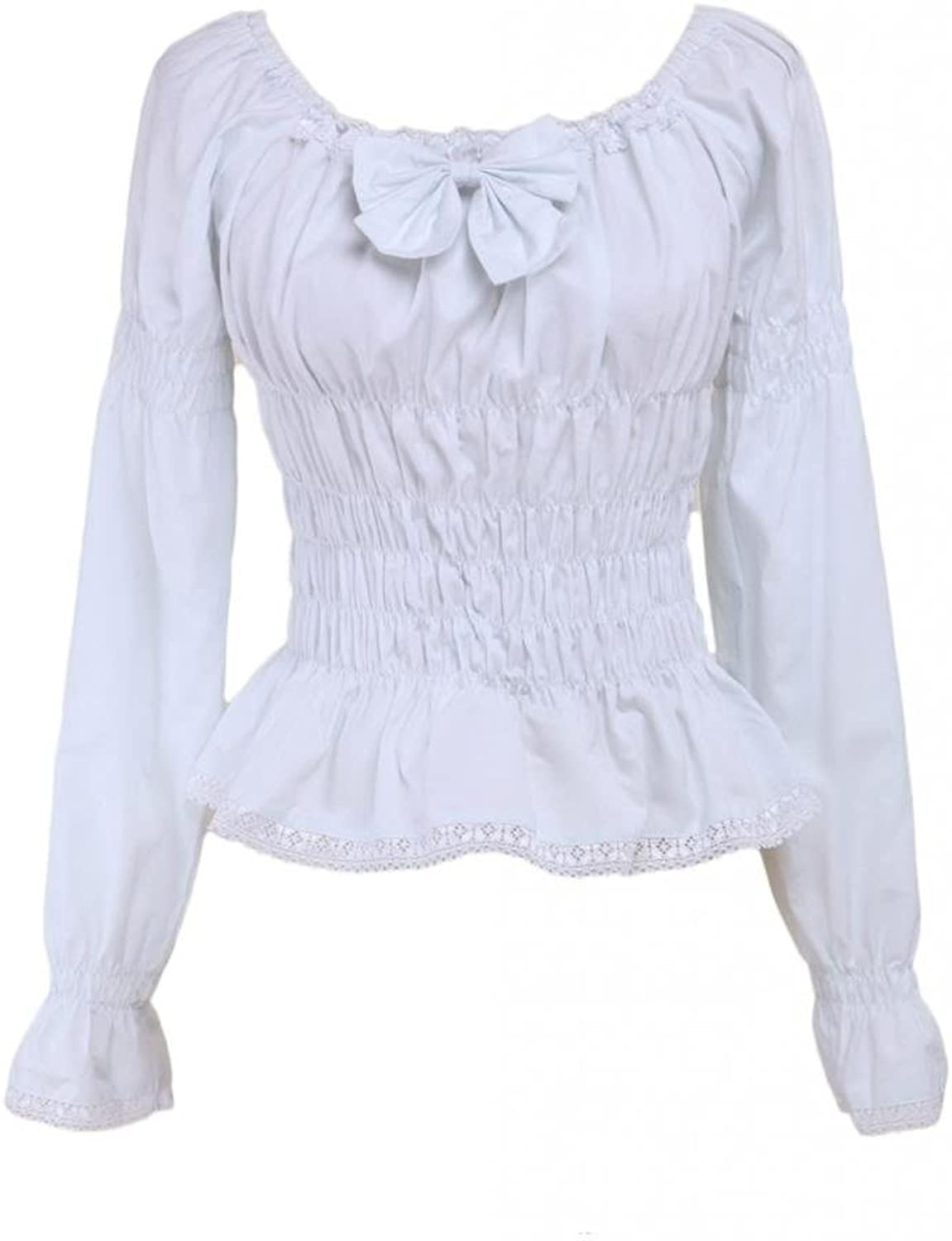 Hugme White Cotton Lolita Blouse Long Sleeves Shirring Bow Round Neck