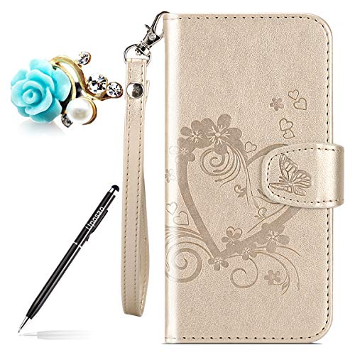 Kompatibel mit Hülle Huawei P9 Lite Mini Lederhülle Leder Tasche Retro Schmetterling Blumen Muster Handy Hüllen Brieftasche Klapphülle Handytasche Flip Hülle Cover Kartenfächer,Gold