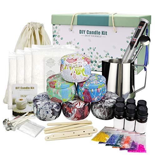 DIY Candle Making Kit, Beeswax Scented Candles Supplies Mother's Day Gift Set for Women with Fragrance Candles, Cotton Wicks, Pot, Dyes, Candle Jars