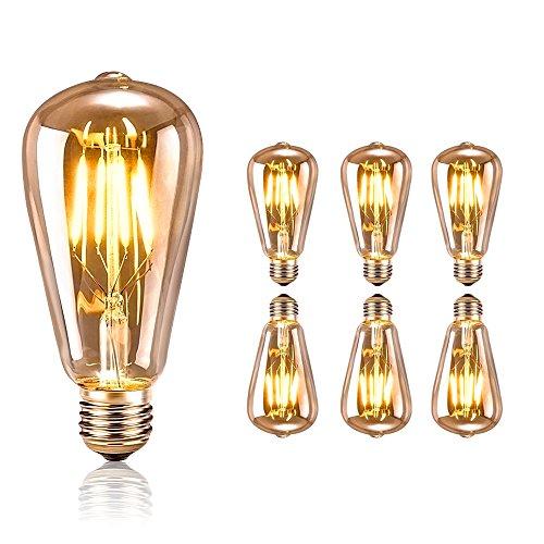 tronisky Retro Edison Bombillas, Vintage LED Bombillas de Filamento E27 4W Antiguo Edison Lámpara Blanco Cálido Bombillas Decorativa for Casa, Restaurante, Bar, Cafetería, Tienda - 6 Piezas