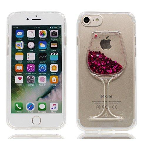 EarthNanLiuPowerTu iPhone 6S Plus Carcasa, [Copa,Copas de Vino] Flujo Flotante líquido Bling Shiny Sparkle Glitter Clear Case Cover Funda para iPhone 6 Plus/6s Plus 5.5' (Rojo)