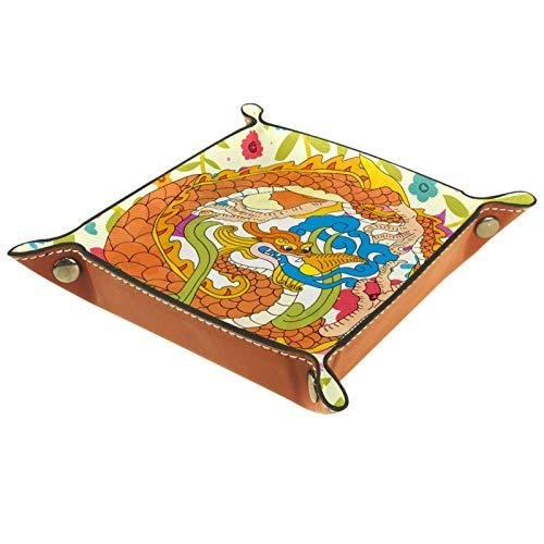 Caja de almacenamiento pequeña, bandeja de valet para hombre,China Dragon Animal ,Organizador de cuero para llaves de caja de monedas