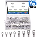 Glarks 125Pcs Marine Grade Heavy Duty Tinned Copper Wire Lugs Battery Cable Ends Eyelets SC Ring Terminal Connectors...