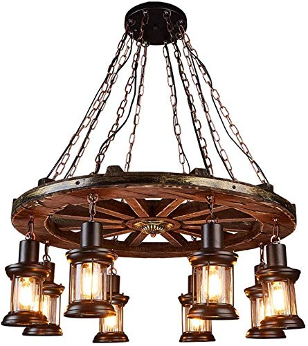 Gweat Light Industrie Antik Holz Breite Linear Insel Kronleuchter 8 Lampenleuchter-Beleuchtung Deckenleuchte Retro Design Holzrad Hauptdekoration Cafe Wohnzimmer Esszimmer, E27 / 220V,8 Lights