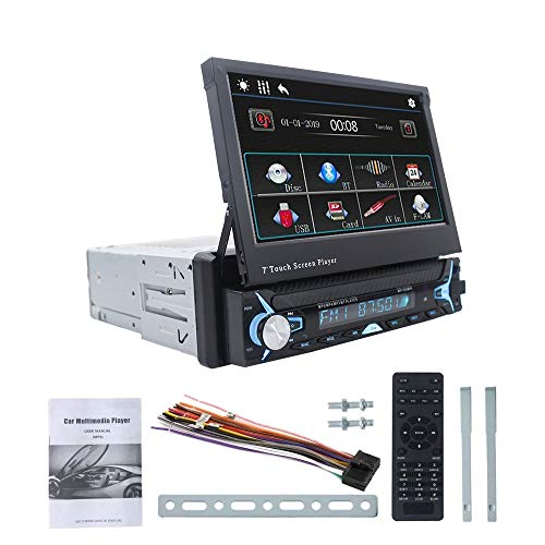 Kaxofang Reproductor Multimedia de Coche de 7 Pulgadas 1 DIN Android 10.0 Radio de Coche Reproductor MP3 MP5 BT GPS FM NavegacióN USB Pantalla RetráCtil A