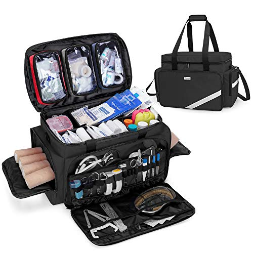 Trunab First Aid Bag Empty Professional Medical Bag Emergency Responder Trauma Bag with Inner Dividers and AntiSlip Bottom Ideal for EMT EMS Paramedics Black  Patented Design Bag Only