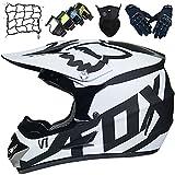 Casco Motocross Niños, Juego de Cascos de Motocicleta para Jóvenes y Adultos, Casco Unisex de Motocicleta Crash Cross para MTB Downhill Dirt Bike MX Quad ATV - con Diseño Fox - Negro Blanco