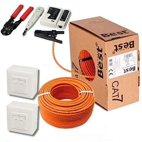 50m CAT 7 Verlegekabel Netzwerkkabel Datenkabel CAT7 + 2X Netzwerkdose Cat6a + 1x Werkzeugset Crimpzange Abisoliermesser Tester Werkzeug Set 4 in 1 für Netzwerkinstallation und Telefoninstallation