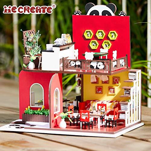 Hfalu DIY 木製ドールハウス パンダの家 手作りキットセット ミニチュアコレクション LEDライト 防塵カバー付き 家具工芸品キット 誕生日プレゼント(K041)