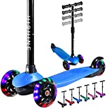 Toddler Scooter for Kids Boys Girls Ages 2-5 Years Old, 3 Wheel Kick Scooter with Light Up Wheels, Adjustable Height, Lean to Steer Handlebar, Easy to Assemble, Blue