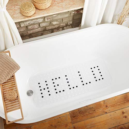 MILI&MARLIE *NEU* rutschfeste Badewannenmatte | EXTRA LANG 100x40cm | 100% BPA frei | inkl. GRATIS Aufhängung | Antirutschmatte eco-Friendly (transparent + schwarzes Hello)