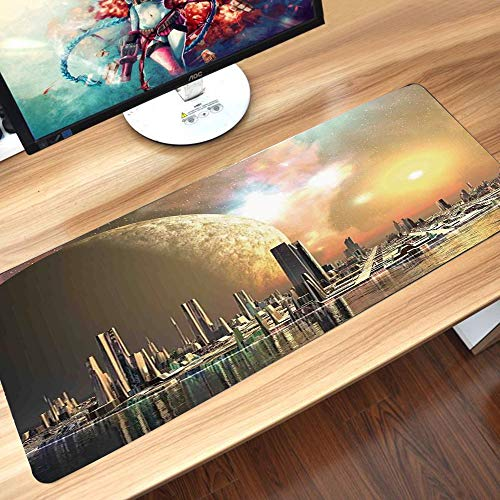 Gaming-Mauspad Gummiunterseite,Stadtansicht, Utopia Islands Floating Future Cities Imaginäre Fantasy Artwork,Schreibtischunterlage Abwischbar Anti Rutsch Matte Multifunktionales Office Mousepad60x35cm