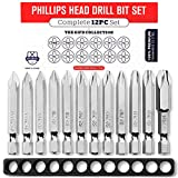 Phillips Screwdriver Drill Bit Set (PREMIUM 12pc COMPLETE SET) /w Storage Case and Bit Holder - PH...