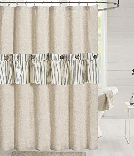 DOSLY IDÉES Linen Button Farmhouse Beige Ruffle Shower Curtain,Linen and Cotton Fabric,Pleated Gray Stripe,Country Style,72x72 in
