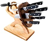 Spartan Knife Set - Chef's Edition - 8-piece, Handmade, Heavy Steel Professional Knife Set - American Maple & Walnut