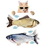 Floppy Fish Cat Toy, Realistic Flopping Fish Cat Toy, Lifetime Replacement, Interactive Cat Toys for Indoor Cats, Kitten Toys, Moving Fish Cat Catnip Toy, Cat Chew Toy, Automatic Cat Kicker Toy