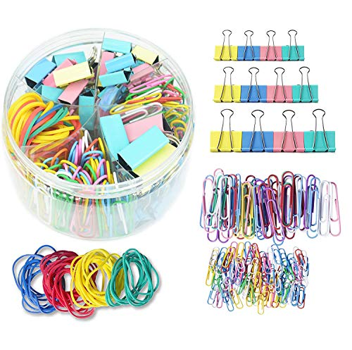 Binder Clips, Paper Clips, Rubber Bands, Paper Clamps - Muticolor Office Clips Set - 3 Sizes Binder Clips, 2 Sizes Paper Clips, 4 Colors Rubber Bands for Office, School Supplies (240 Pcs)