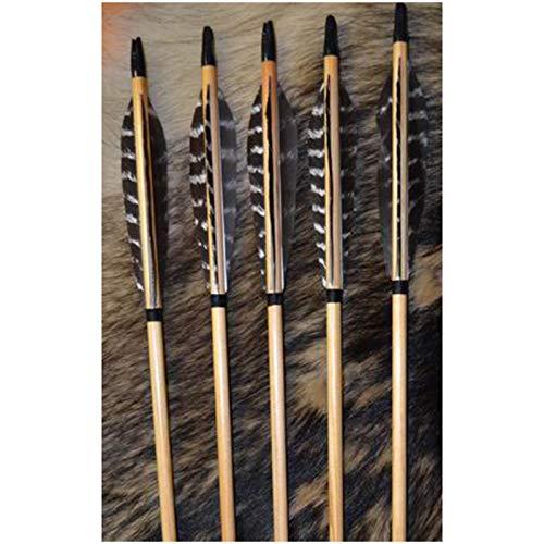 YC° 5 Piezas con Tiro con Arco Flechas de Madera 31'Flechas de Eje Hechas a Mano Tradicionales con 5 '' Pavo de Pavo para recurve Caza de Caza Target Regalo de práctica