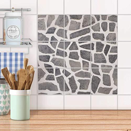 creatisto Mosaikfliesen für Küche und Bad I Fliesen Folie Sticker wiederablösbar I Fliesen renovieren - Fliesendekoration für Bad- und Küchenfliesen I Design: Steinmosaik