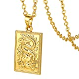 """GoldChic Jewelry Chinese Dragon Gold Necklace For Men Women ,Square Dragon Medallion Large Pendant With 20""""+2"""" Extender Chain ,Gold Layered Necklaces,Hiphop Jewelry , Mascot Lucky Symbol Necklace"""