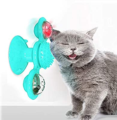 YUTANG Interactive Cat Catnip Toy for Indoor Cats, Windmill Catnip Toy Funny Kitten Toys Cat Toothbrush Toy Cats Hair Brush Turntable Massage Scratching Tickle Toy with Suction Cup from Yutang-1