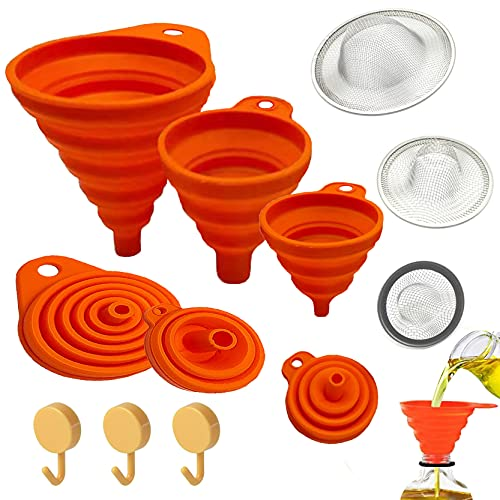 Funnels for Kitchen use With Strainer and Hook Up for Filling Bottles Powder Transfer Silicone Collapsible Kitchen Funnel Kit (9PCS)