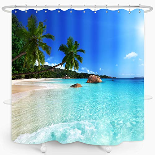 Ocean Beach Shower Curtain Blue Sky Sea Tropical Palm Trees Seaside Landscape Bath Curtain Waterproof Fabric Bathroom Décor 72x72 Inch Plastic Hooks 12PCS Ocean Green