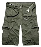 Panegy Pantalones de Cargo Hombres Multi-Bolsillo Bermuda Cortos Deporte Shorts Casual Clásico...