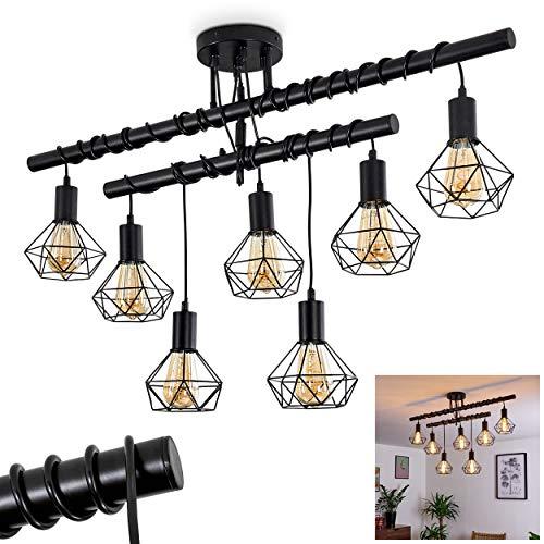 Deckenleuchte Baripada, längliche Deckenlampe aus Metall in schwarz, 7-flammige Zimmerlampe individuell verstellbar, Höhe max. 155 cm (verstellbar), 7 x E27 max. 60 Watt, für LED Leuchtmittel geeignet