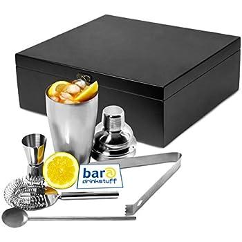 bar@drinkstuff Cocktail Geschenk Set 'Manhattan Nights' in Holz-Geschenk-Box | Cocktail Shaker, Cocktail-Sieb, Jigger Messbecher, Rührstab, Eiswürfelzange