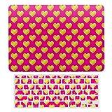Funda rígida para MacBook Air 13 de 13 pulgadas A1466, A1369 para MacBook Air 13 y cubierta de teclado, diseño de corazones de oro rosa con diseño romántico de amor #57