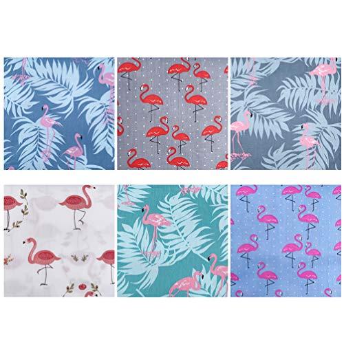 MILISTEN Baumwollstoff Nähstoffe Flamingo Bedruckte Stoff Patchwork Stoffbündel Stoffpaket für DIY Basteln Kunsthandwerk Nähen Mundschutz Scrapbooking Verpackung 50x40cm 6 Stück Grau