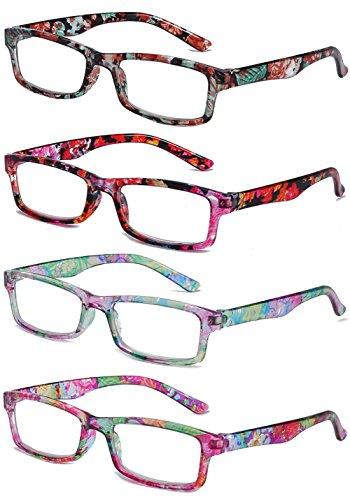 VEVESMUNDO Lesebrillen Damen Frauen Herren Schmal Blume Lesehilfe Sehhilfe Vollrandbrille Retro Lange Bügel Rechteckig Klar Brillen Mit Stärke 1.0 1.5 2.0 2.5 3.0 3.5 4.0 (Lesebrillen 4 Stück, 3.0)