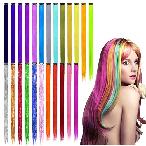 AirSMall 24 TLG Farbiger Haarverlängerungs Clip Set 55 * 3 cm Regenbogen Farbe Haarsträhnen Strähnchen Synthetisch Haarteile Perücken Hair Extensions für Kinder Mädchen Damen Cosplay Party