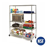 Seville Classics MEGA Rack UltraDurable Commercial-Grade 5-Tier NSF-Certified Wire Shelving with Wheels, 60' W x 24' D, Plated Steel