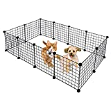 Pratcgoods 12 PanelsHeavy Duty Dog Pens Foldable Metal Pet Playpen Dog Barrier Kennel Pets Fence Dog Exercise Pen for Pets Cat Duck Chicken Puppy
